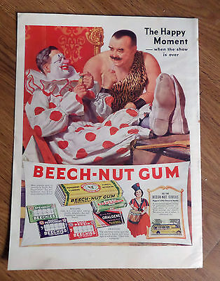 1937 Beech-Nut Gum Ad The Happy Moment   Circus Theme