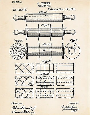 1891 Rolling Pin Patent Print Drawing Primitive Rustic Kitchen Wall Decor Ideas ()