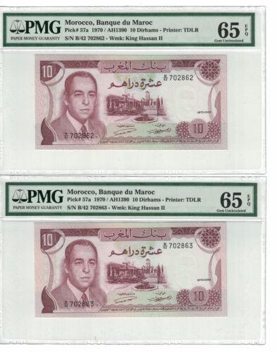 MOROCCO Set of 2 notes x 10 Dirhams 1970 PICK# 57a PMG - 65 EPQ.(#1365)