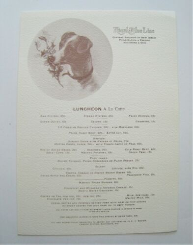 Vintage Central Railroad of New Jersey CNJ Lunch Menu Royal Blue Line
