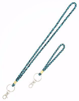 Mesh Braided Silk Ribbon Necklace Lanyard and Wristlet key fob with key Chain](Necklace Lanyards)