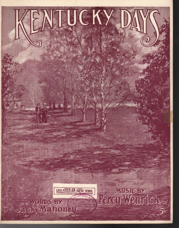 KENTUCKY DAYS Sheet Music  1912