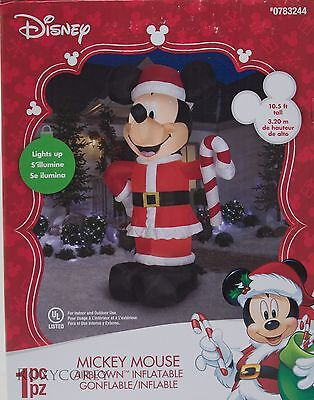 Christmas Disney 10.5 Ft Mickey Mouse Candy Cane Light Up Airblown Inflatable
