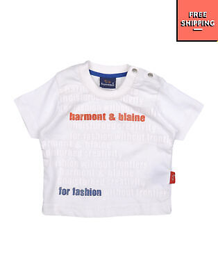 HARMONT & BLAINE T-Shirt Top Size 9M Coated Front Short Sleeve Made in Italy