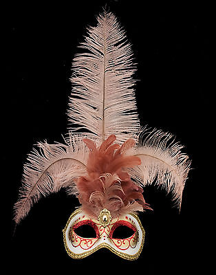 Mask from Venice Colombine in Feathers Ostrich Rose-Mask Venetian - 1347 V78