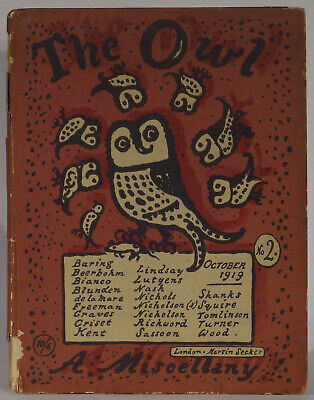 The Owl Miscellany No. 2 October 1919 poetry Sassoon Robert Graves illustration](Owl Poem)