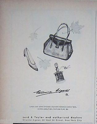 1965 Vintage Etienne Aigner Purse Handbag Shoes Perfume Ad
