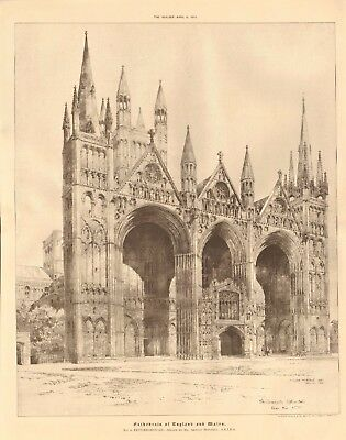 1891 ANTIQUE ARCHITECTURAL PRINT-CATHEDRAL- PETERBOROUGH
