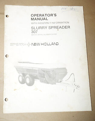 Sperry New Holland Slurry Spreader 307 Operators Manual Pn 43030712