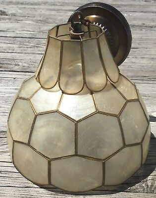 OLD VTG ANTIQUE SEASHELL CAPIZ SHELL SHADE HANGING LIGHT SWAG LAMP (Capiz Shell Chandeliers Hanging)