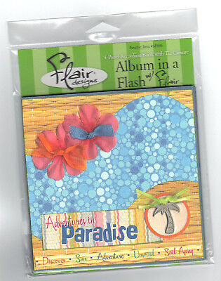 PARADISE 6x6 ALBUM IN A FLASH scrapbooking 4-PANEL Accordion Book w/TIE CLOSURE - Cheap Accordion