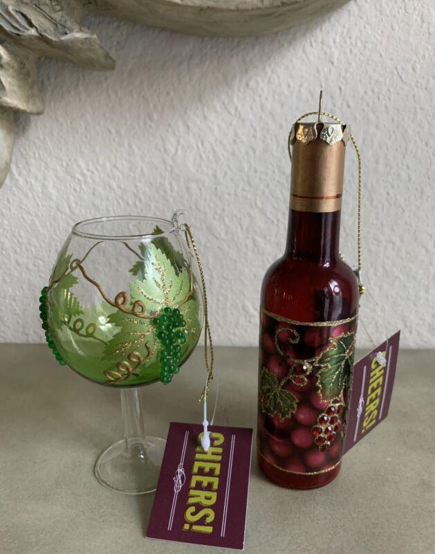 Christmas Wine Bottle And Glass Ornament Grape Cluster Glitter