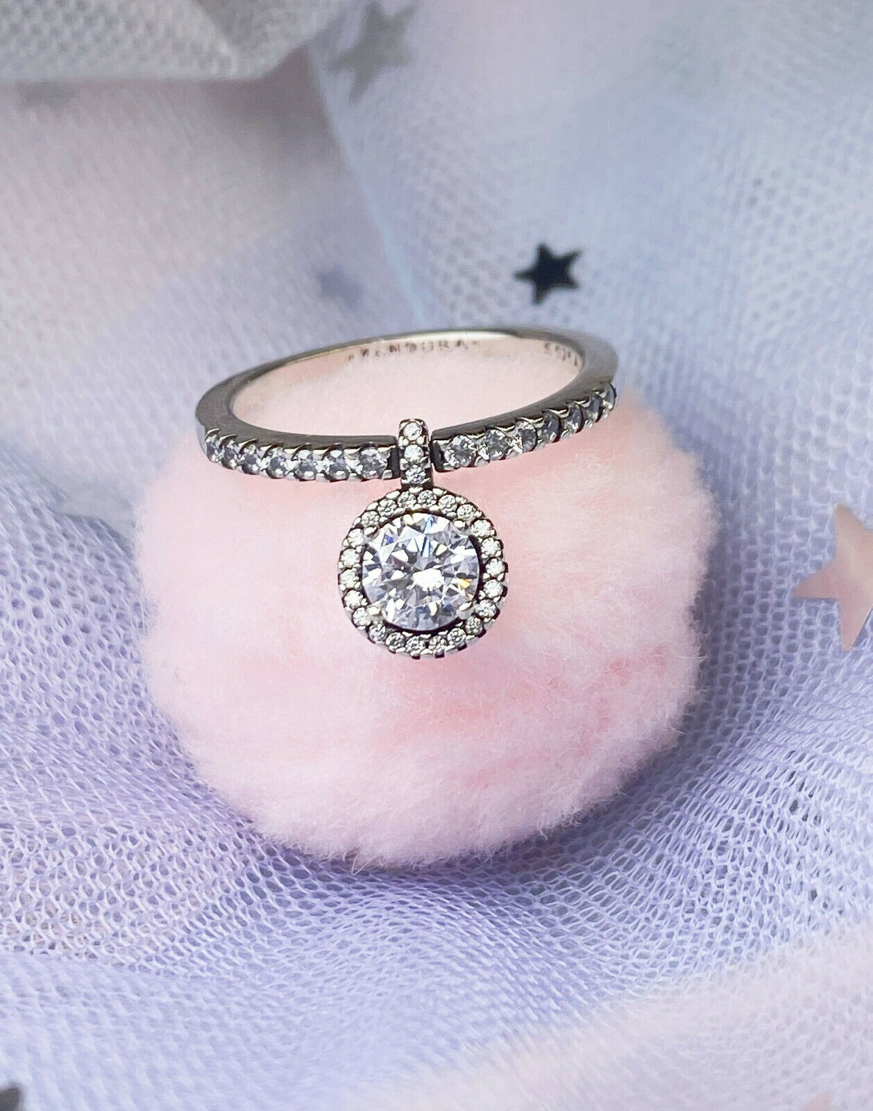 Authentic Silver 925 ALE Pandora Dangling Round Sparkle Ring 198491C02 Size 6 - $11.11