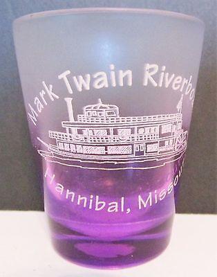 MARK TWAIN RIVERBOAT,  HANNIBAL, MISSOURI  PURPLEISH  SHORT SHOT GLASS