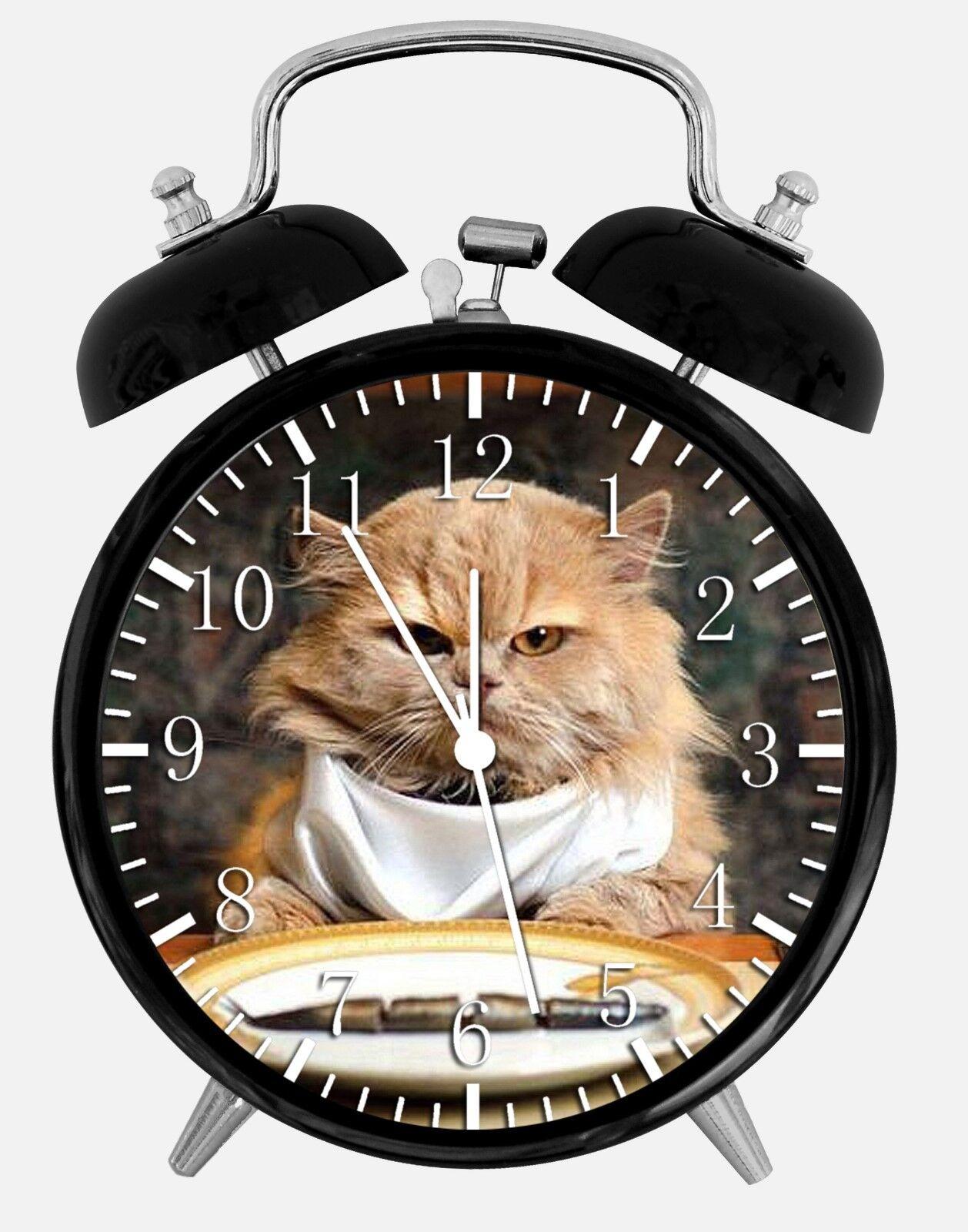 "Cute Funny Cat Alarm Desk Clock 3.75"" Room Office Decor E303 Nice For Gift"