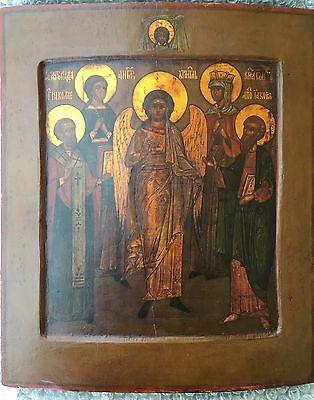 Original alte russische Ikone Icon Schutzengel und Heilige, um 1800, 31,0x26,5cm