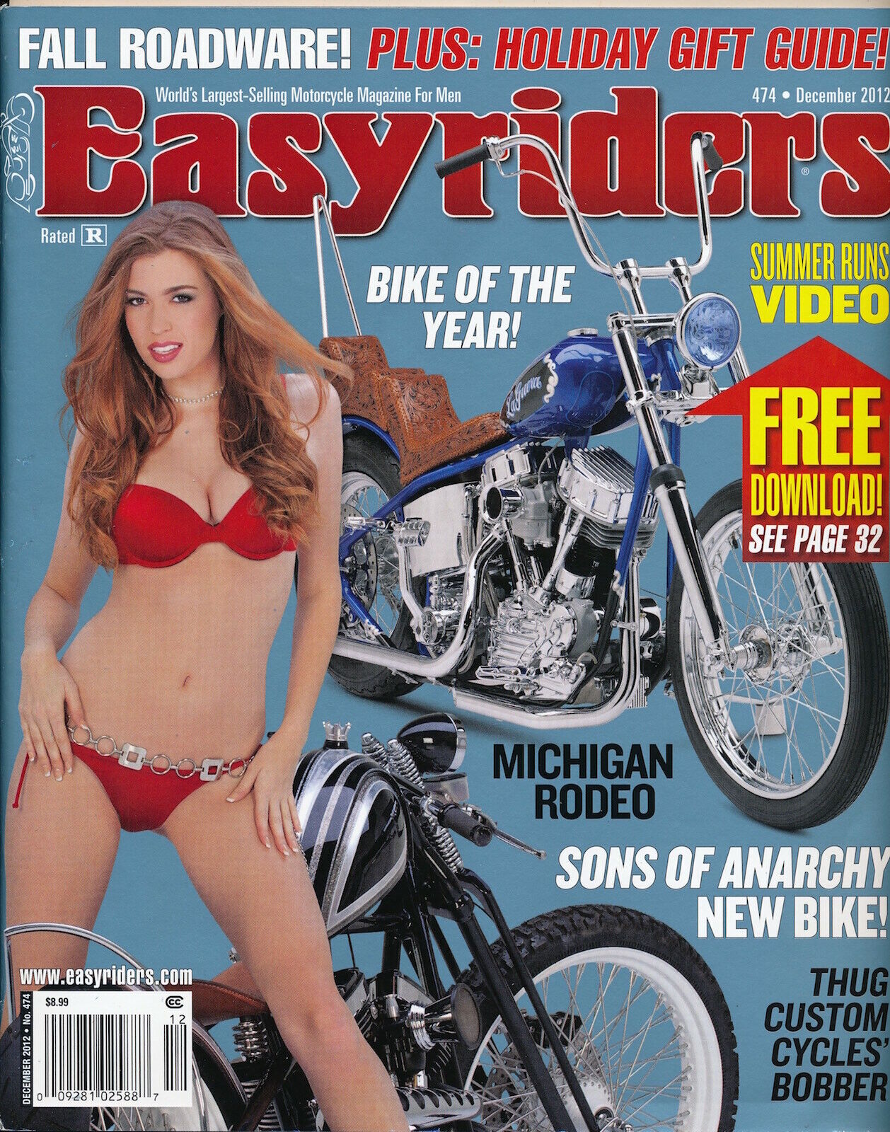 EASYRIDERS December 2012 Vintage Magazine CUSTOM Leather Hot Motorcycles 127009 - $2.00