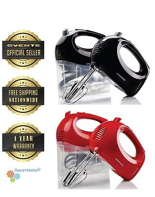 Ovente Hand Mixer Ultra Power 5-Speed 2 Chrome Beaters Free Snap-On Case (HM151)