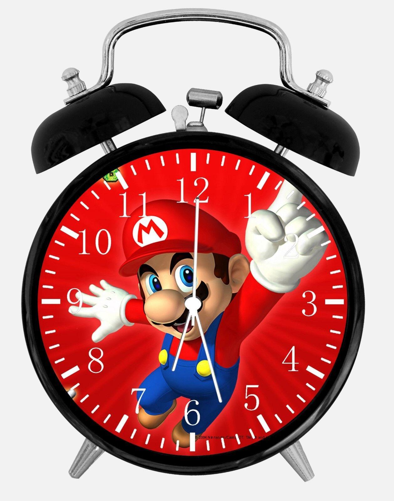 "Super Mario Alarm Desk Clock 3.75"" Room Office Decor W08 Will Be a Nice Gift"