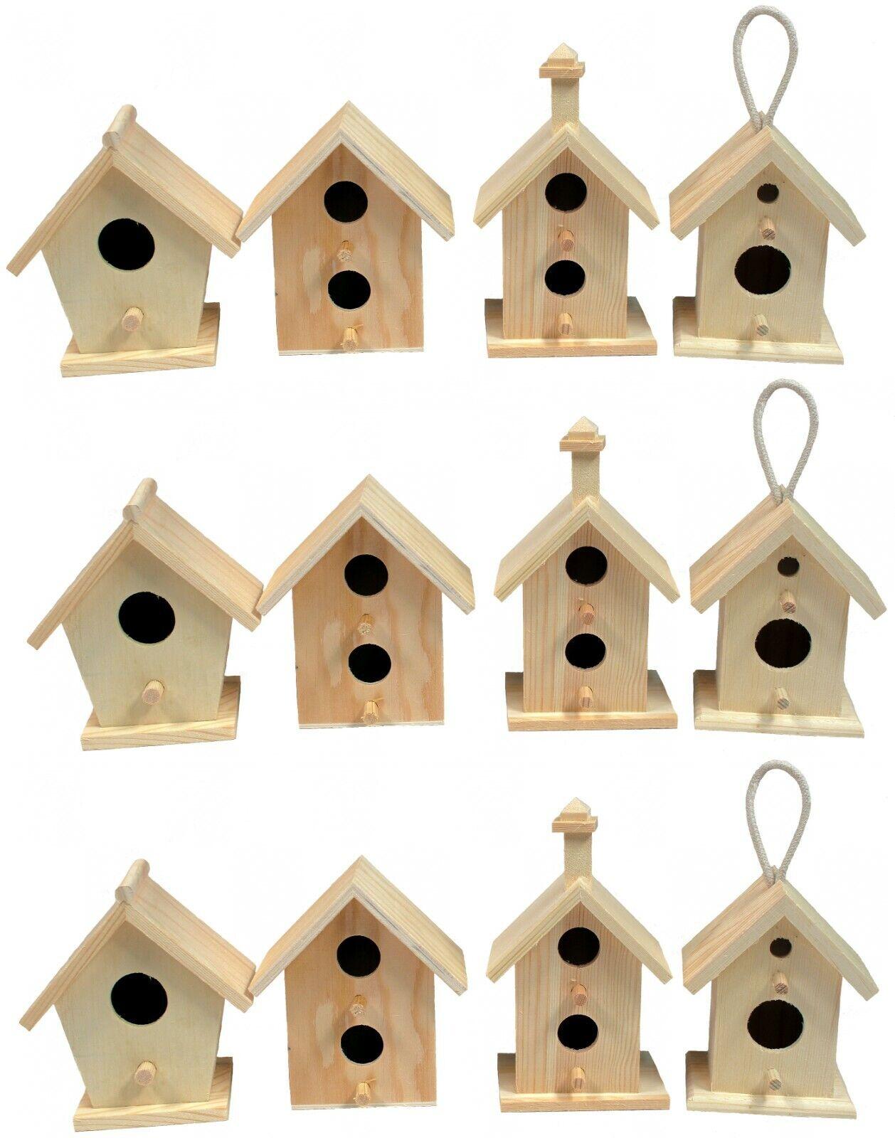 Creative Hobbies 12 Pack of Wooden Bird Houses To Paint, DIY Design Your Own Bird & Wildlife Accessories