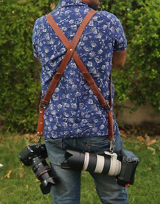 Leather Dual Camera Harness Leather Shoulder Strap Slider Release Lens DSLR Belt Dslr, Dual Lens