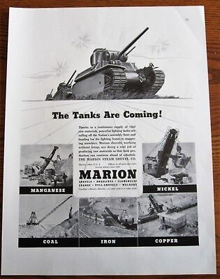 Tanks from Nickel,Copper,Iron,Coal,Manganese Raw Materials ,WWII Ad, original