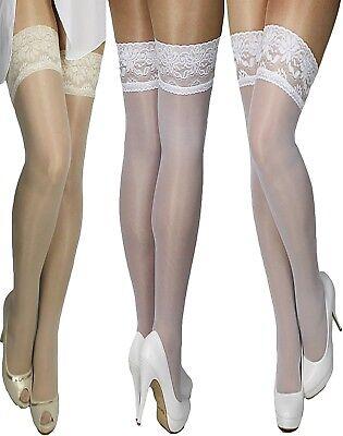 Halterlose dünne MARILYN Braut-Strümpfe Spitze weiß oder creme Hochzeit 15 den