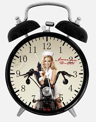 Military Motorcycle Girl Alarm Desk Clock 3.75 Home or Office Decor Y71