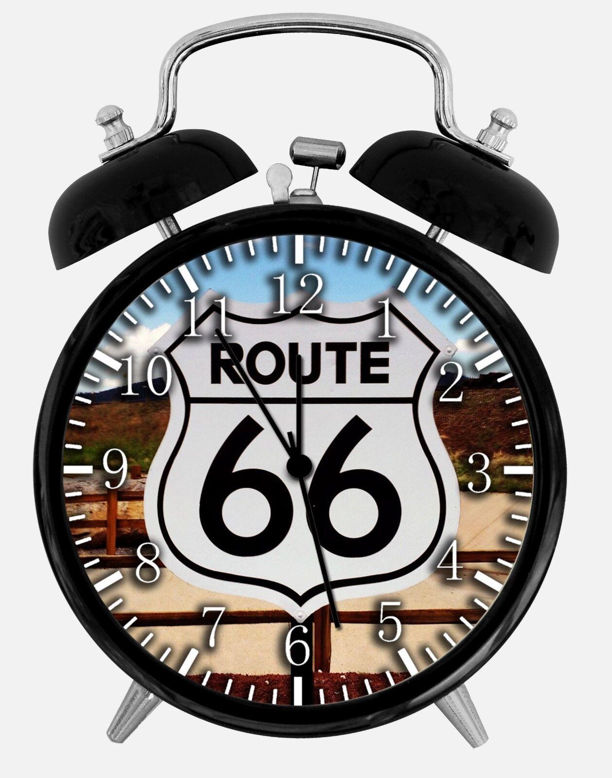 "Route 66 Alarm Desk Clock 3.75"" Home or Office Decor E451 Nice For Gift"