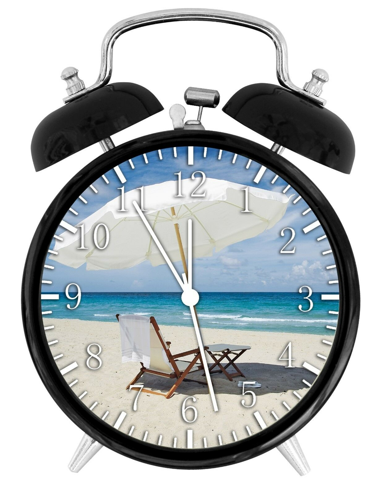 "Beach Scenery Alarm Desk Clock 3.75"" Room Office Decor E61 Will Be a Nice Gift"