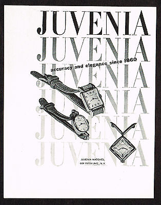 1940's Vintage 1946 Juvenia Watch Co. - Paper Print AD