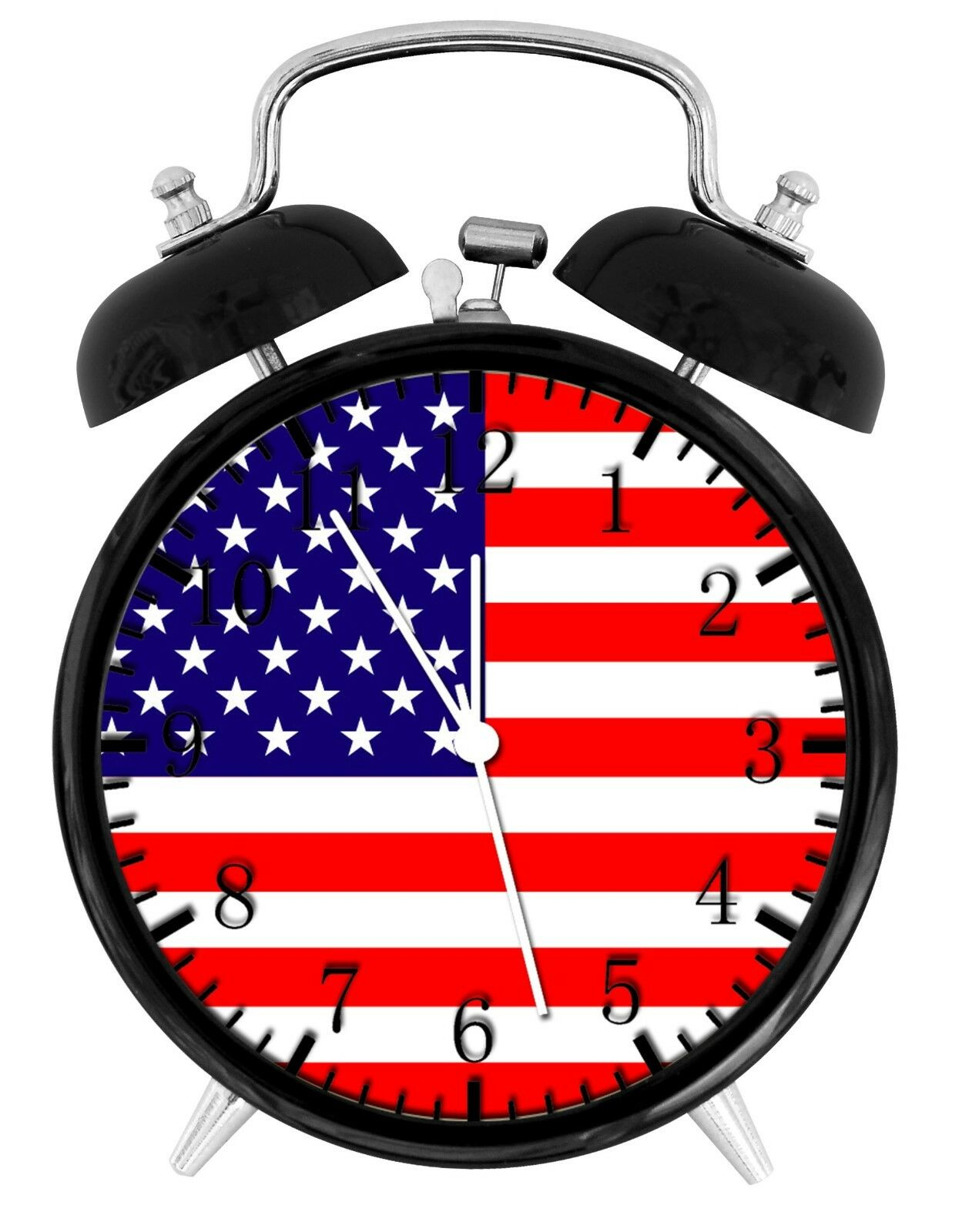 "American Flag Alarm Desk Clock 3.75"" Room Office Decor W26 Be A Nice Gift"
