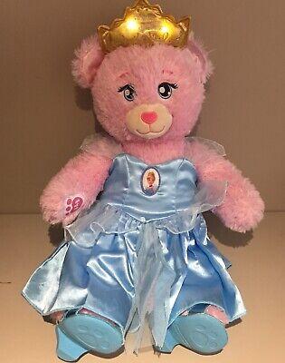 Build A Bear Pink Disney Princess With Light Up Tiara & Cinderella Dress Outfit