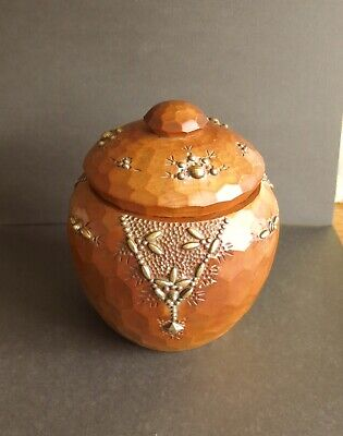 Stunning Carved Wood and Brass Decorated Honey Pot C.1930