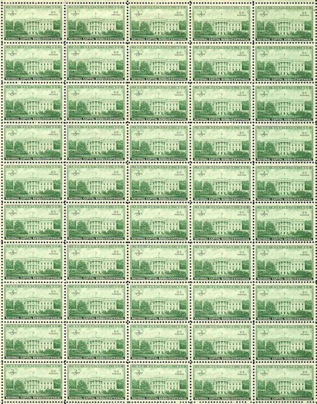 1950 - THE WHITE HOUSE - Vintage Full Mint Sheet of 50 U.S. Postage Stamps