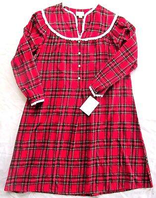 Lanz of Salzburg Womens Nightgown Red Plaid Flannel Christmas Pajamas Medium