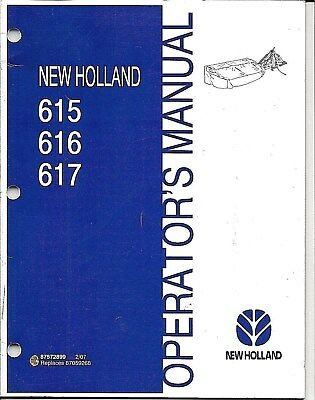 New Holland 615 616 617 Disc Mower Operator Manual 87572899