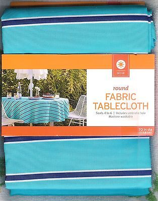 BLUE STRIPED FABRIC ROUND TABLECLOTH ~ 70