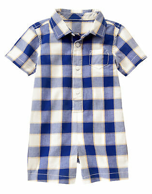 New BORN Gymboree Navy Blue Plaid Romper Shorts Baby Boy Infant Gift (Blue Plaid Romper)