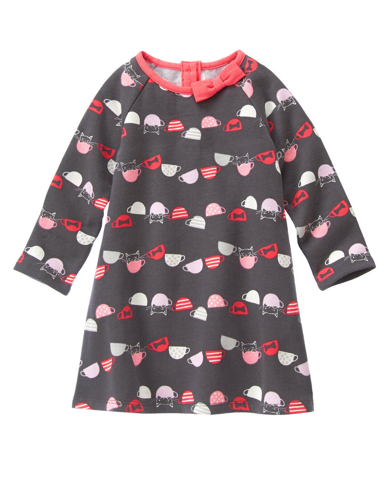 NWT Gymboree Kitty Cat Teacup Print Sweatshirt Dress 18-24 M