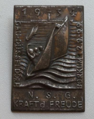 Original German WW 2 Badge - KDF - Gau-Düsseldorf - Borkum - 2.9 - 9.9 1934