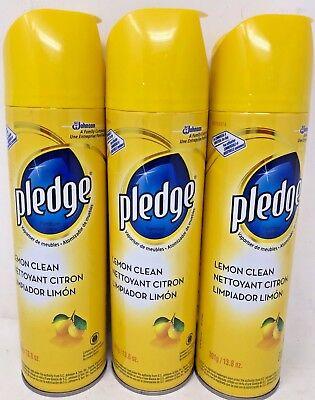 Pledge Lemon Clean Furniture Spray 13.8 Oz Each Pack of 3 Brand New S.C. Johnson