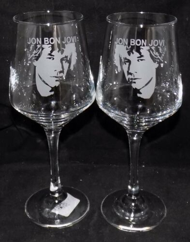 "New Etched ""JON BON JOVI"" Wine Glass(es)  - Free Gift Box - Large 390mls Glass"