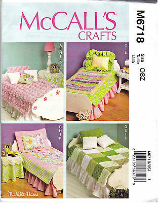 "SEWING & CRAFT PATTERN 18"" Doll Bed & Mattress Table Lamp Bedding Quilt Pillows"