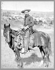 THE-COWBOY-antique-photo-OLD-WEST-17-x13-print-John-Grabill-Horse-Western
