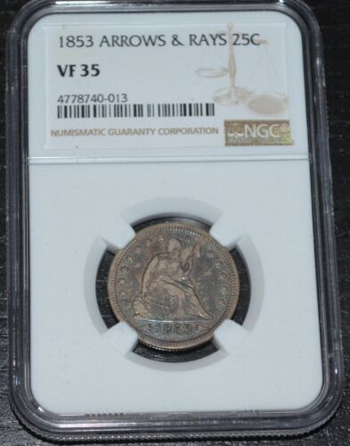 1853 25C Seated Liberty Silver Quarter Arrows and Rays Graded by NGC as VF 35