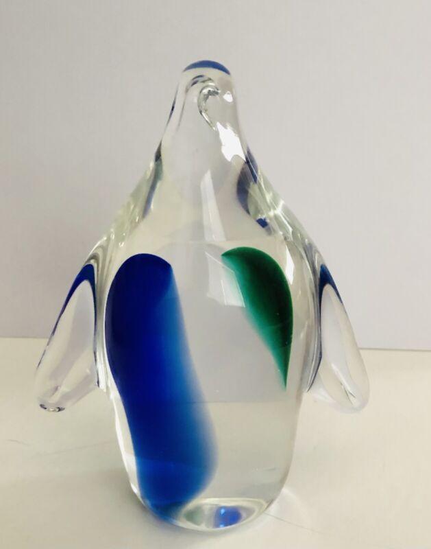 Hand Blown Glass Cobalt Blue and Green Penguin