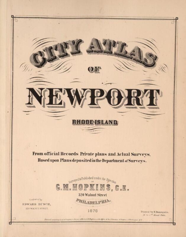 1876 Atlas NEWPORT CITY RHODE ISLAND plat maps old GENEALOGY LAND OWNERS DVD