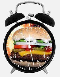 Hamburger Alarm Desk Clock 3.75 Home or Office Decor E283 Nice For Gift