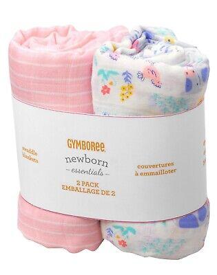 NEW Set of 2 GYMBOREE Newborn Essentials FARM Muslin Swaddle